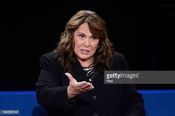 Moderator Candy Crowley speaks during a town hall style debate at Hofstra University October 16 2012 in Hempstead New York During the second of three...