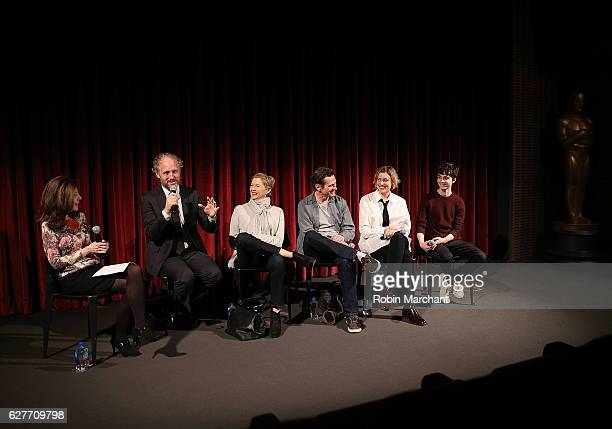 Moderator Caryn James director Mike Mills actors Annette Bening Billy Crudup Greta Gerwig and Lucas Jade Zumann attend The Academy of Motion Picture...