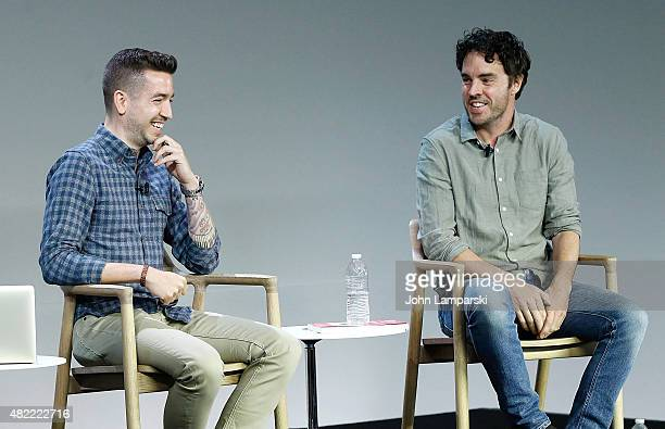 Moderator Charles Thorp and Filmmaker Damon Gameau of That Sugar Film speaks during Apple Store Soho Presents Meet the Filmmaker at Apple Store Soho...