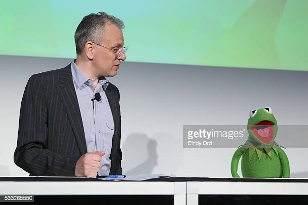 Moderator Chris Bonanos and Kermit the Frog speak at 'Morning with the Muppets' panel discussion at the Vulture Festival at Milk Studios on May 21...