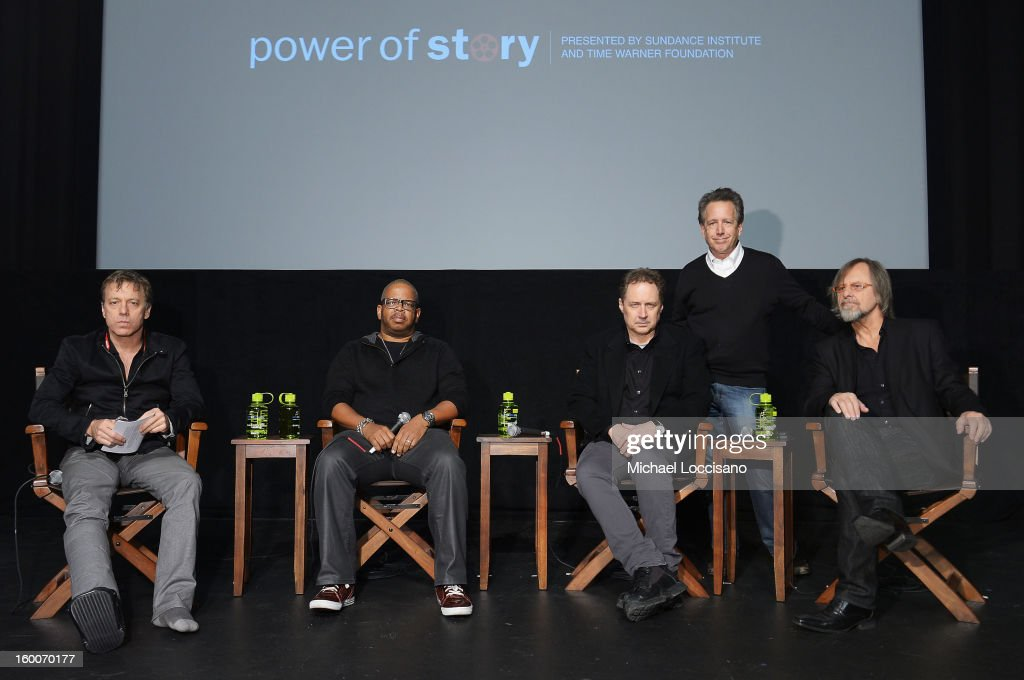 Moderator Chris Douridas, musician Terence Blanchard, and composer Mark Isham, composer and director of the Film Music program at the Sundance Institute Peter Golub, and Jan A. P. Kaczmarek onstage at the Power Of Story: Measure For Measure Panel during the 2013 Sundance Film Festival at Egyptian Theatre on January 25, 2013 in Park City, Utah.