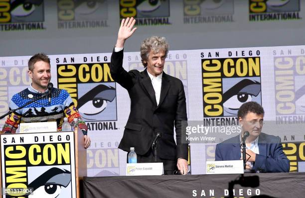 Moderator Chris Hardwick actor Peter Capaldi and writer Steven Moffat speak onstage at the 'Doctor Who' BBC America official panel during ComicCon...