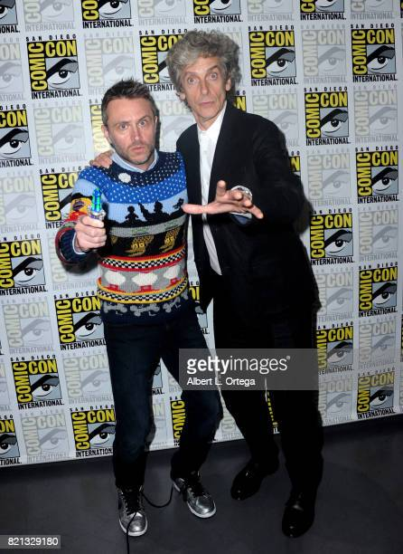 Moderator Chris Hardwick and actor Peter Capaldi during 2017 ComicCon International at San Diego Convention Center on July 23 2017 in San Diego...