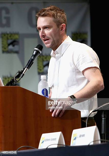 Moderator Chris Hardwick at the Hall H Panel for Star Wars The Force Awakens during ComicCon International 2015 at the San Diego Convention Center on...