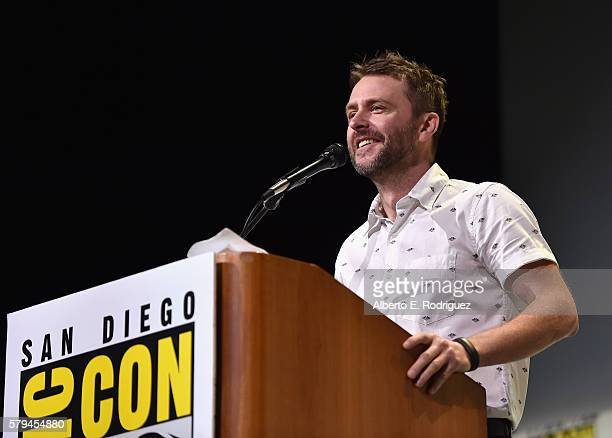 Moderator Chris Hardwick attends the San Diego ComicCon International 2016 Marvel Panel in Hall H on July 23 2016 in San Diego California ©Marvel...