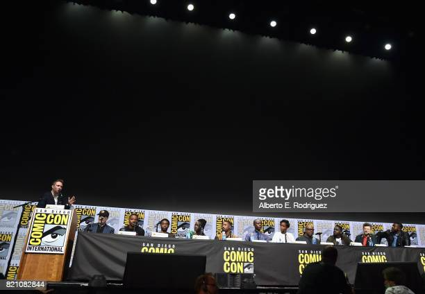 Moderator Chris Hardwick President of Marvel Studios and Producer Kevin Feige Director Ryan Coogler actors Chadwick Boseman Lupita Nyong'o Michael B...