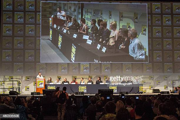 Moderator Chris Hardwick producer Kathleen Kennedy director JJ Abrams screenwriter Lawrence Kasdan actors John Boyega Daisy Ridley Oscar Isaac Adam...