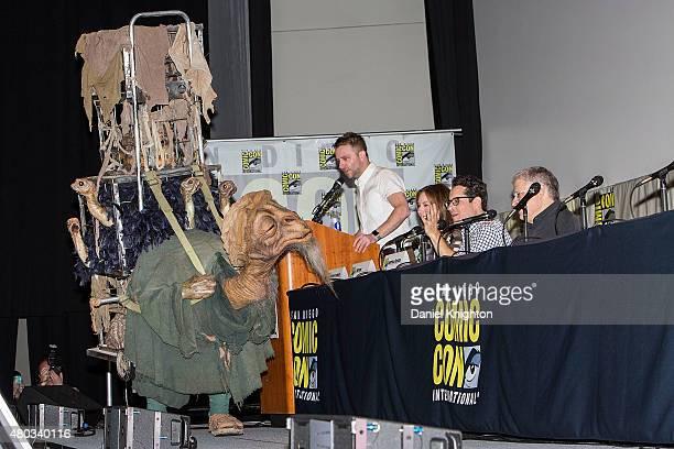 Moderator Chris Hardwick producer Kathleen Kennedy director JJ Abrams and screenwriter Lawrence Kasdan attend ComicCon International at San Diego...