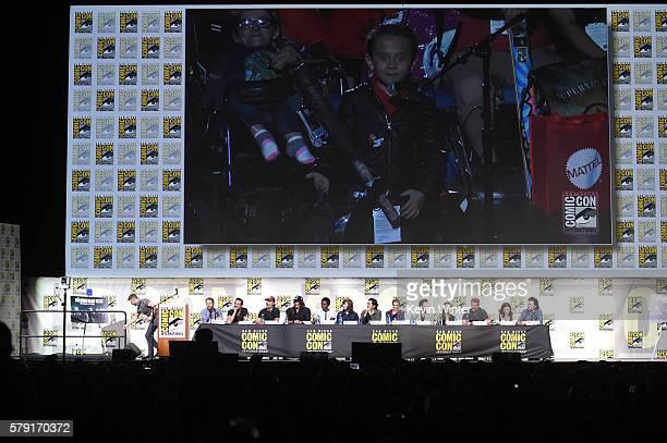 Moderator Chris Hardwick, writer/producer Scott M. Gimple, actors Jeffrey Dean Morgan, Andrew Lincoln, Norman Reedus, Danai Gurira, Chandler Riggs,...