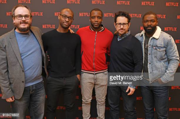 QA moderator Chris Hewitt director Julius Onah actor Roger Davies producer JJ Abrams and actor David Oyelowo attend a fan screening of The...
