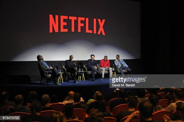 QA moderator Chris Hewitt director Julius Onah producer JJ Abrams actors Roger Davies and David Oyelowo speak on stage at a fan screening of The...