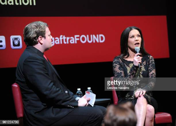 Moderator Christian Blauvelt and actress Catherine ZetaJones attend SAGAFTRA Foundation Conversations 'Cocaine Godmother The Griselda Blanco Story'...