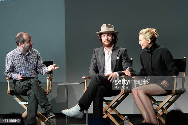 Moderator Christopher Rosen, Actor Aaron Taylor-Johnson and Actress Elizabeth Olsen attend the Apple Store Soho Presents: Meet The Actors: 'Age Of...