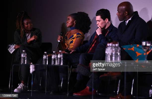 Moderator Clara Amfo with Masali Baduza Jack Rowan and Paterson Joseph speak on stage during an QA ahead of the Noughts and Crosses UK Premiere at...