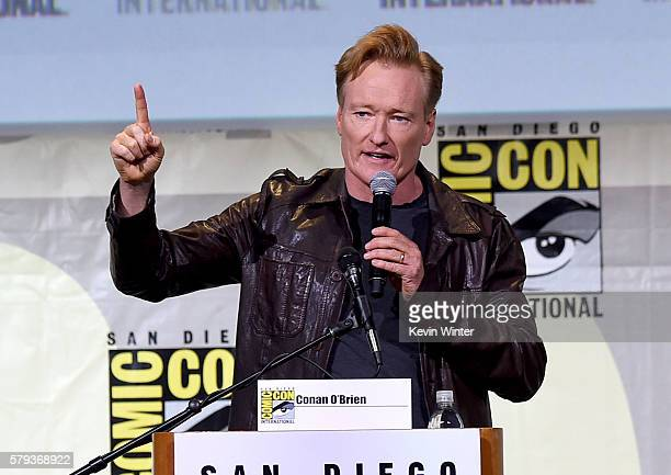 Moderator Conan O'Brien attends the Warner Bros Presentation during ComicCon International 2016 at San Diego Convention Center on July 23 2016 in San...