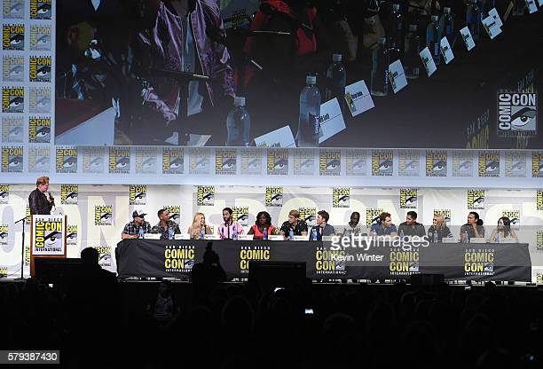 Moderator Conan O'Brien director David Ayer actors Will Smith Margot Robbie Jared Leto Viola Davis Joel Kinnaman Scott Eastwood Adewale...