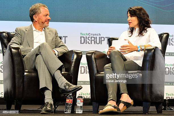 Moderator Connie Loizos and TPG Growth Founding Partner Bill McGlashan speak onstage during day one of TechCrunch Disrupt SF 2015 at Pier 70 on...