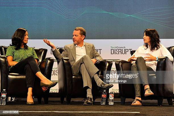 Moderator Connie Loizos TPG Growth Founding Partner Bill McGlashan and Managing Partner of Cowboy Ventures Aileen Lee speak onstage during day one of...