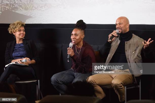 Moderator Cori Murray Lena Waithe and Common attend the QA during an advance screening of Showtime's 'The Chi' on Chicago's South Side at SMG Chatham...