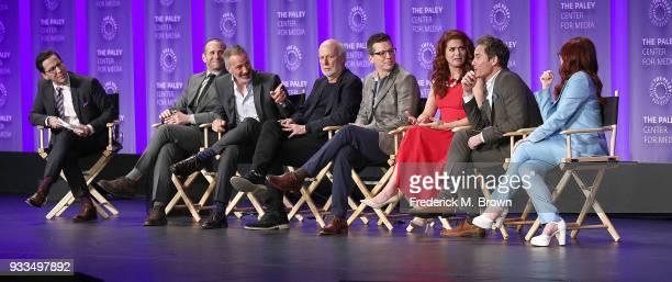Moderator Dan Bucatinsky creators/executive producers Max Mutchnick and David Kohan executive producer James Burrows actor Sean Hayes actress Debra...
