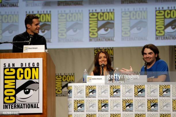 Moderator Dave Karger actress Salma Hayek and director Joe Lynch attend RADiUSTWC Horns Everly panels during ComicCon International 2014 at San Diego...