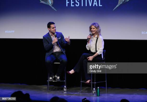 Moderator Dave Karger and actress Kyra Sedgwick onstage at 'Story of a Girl' QA during 20th Anniversary SCAD Savannah Film Festival on October 31...