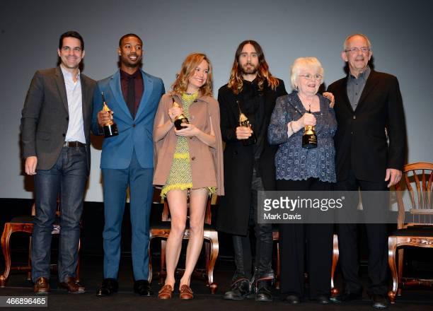 Moderator Dave Karger attends with actors Michael B. Jordan, Brie Larson, Jared Leto, June Squibb, and Christopher Lloyd at the 29th Santa Barbara...