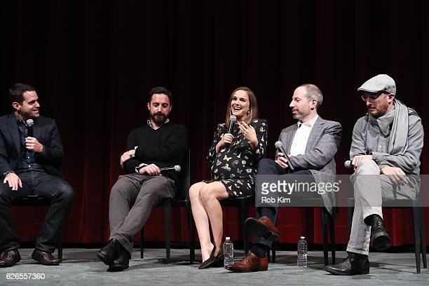 Moderator Dave Karger director Pablo Larrain actress Natalie Portman writer Noah Oppenheim and producer Darren Aronofsky attend a panel discussion...
