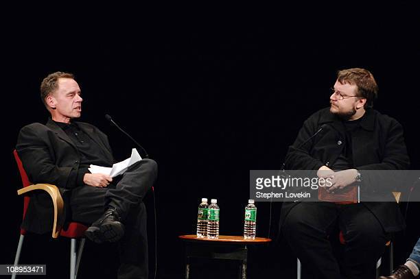 Moderator David Carr and Guillermo del Toro during IFP's 16th Annual Gotham Awards Nominee Reception November 28 2006 at Kaye Playhouse at Hunter...