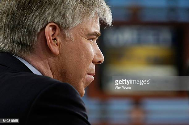 Moderator David Gregory listens during a taping of 'Meet the Press' at the NBC studios December 14 2008 in Washington DC David Gregory has succeeded...