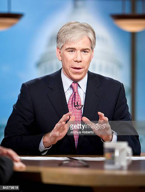 Moderator David Gregory speaks during a taping of 'Meet the Press' at the NBC studios February 1 2009 in Washington DC The roundtable was discussing...