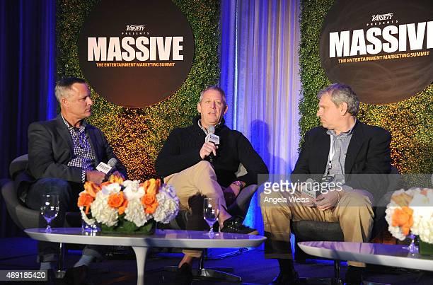 Moderator David Nugent of Omnigon Eric Hadley of Pinterest and Adam Rockmore of Fandango speak onstage at Variety's Massive The Entertainment...