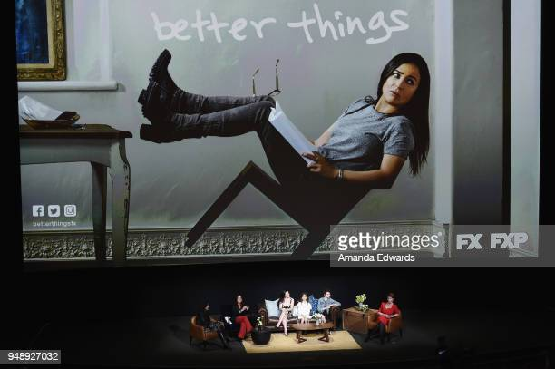 Moderator Debra Birnbaum and actresses Pamela Adlon Mikey Madison Olivia Edward Hannah Alligood and Celia Imrie attend the FYC Event for FX's 'Better...