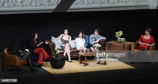Moderator Debra Birnbaum and actresses Pamela Adlon Mikey Madison Olivia Edward Hannah Alligood and Celia Imrie attend the FYC Event for FX's Better...