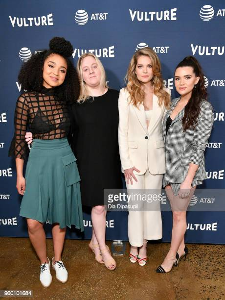 Moderator Devon Ivie and Actors Aisha Dee Meghann Fahy and Katie Stevens of The Bold Type attends the Vulture Festival Presented By ATT Milk Studios...