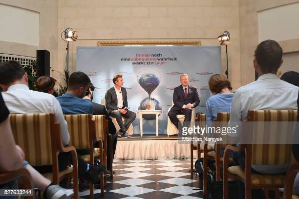 Moderator Dirk Steffens and Former Vice President Al Gore attend a press conference for 'An Inconvenient Sequel: Truth to Power' at Hotel Adlon on...