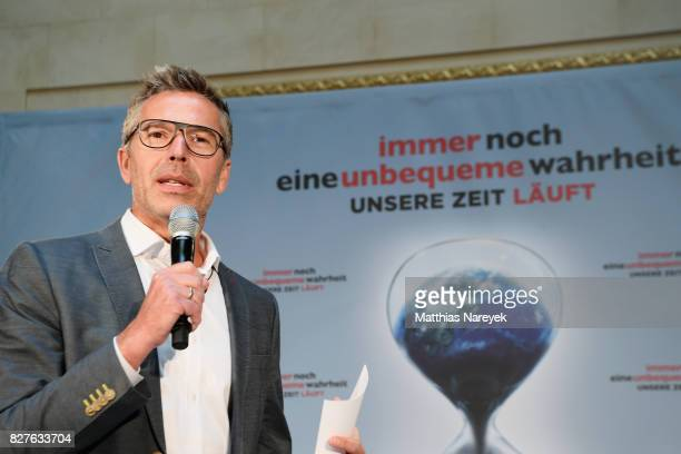 Moderator Dirk Steffens attends a press conference for 'An Inconvenient Sequel: Truth to Power' at Hotel Adlon on August 8, 2017 in Berlin, Germany.
