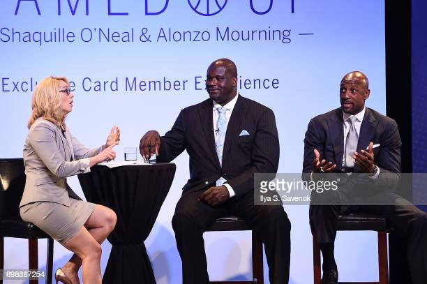 Moderator Doris Burke speaks with Shaquille O'Neal and Alonzo Mourning onstage during American Express Teamed Up with Shaquille O'Neal and Alonzo...