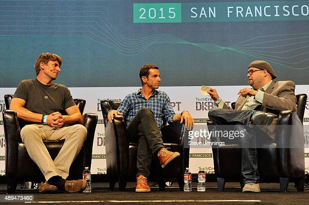 Moderator Drew Olanoff speaks with Claude Zellweger of HTC and Dr Richard Marks of Sony onstage during day one of TechCrunch Disrupt SF 2015 at Pier...