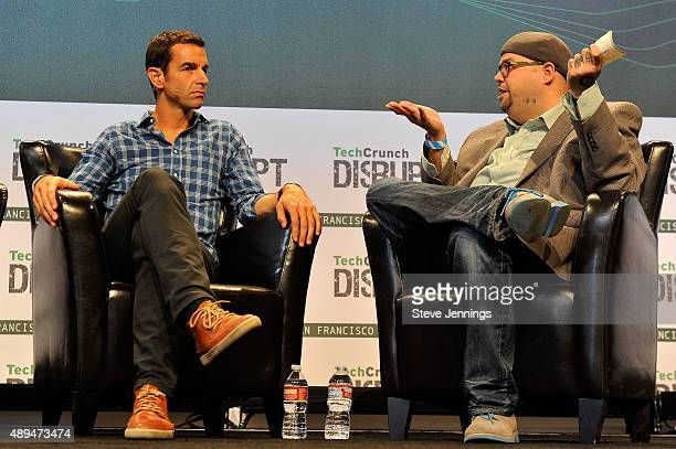 Moderator Drew Olanoff speaks with Claude Zellweger of HTC onstage during day one of TechCrunch Disrupt SF 2015 at Pier 70 on September 21 2015 in...