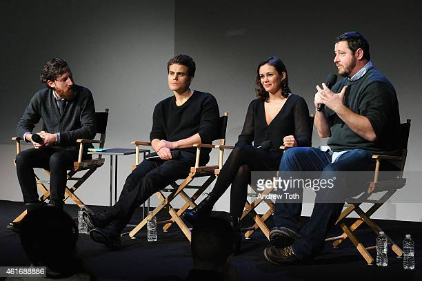 Moderator Drew Taylor actor Paul Wesley actress Dina Shihabi and writer/director Sean Mullin attend Apple Store Soho Presents Meet The Filmmakers...