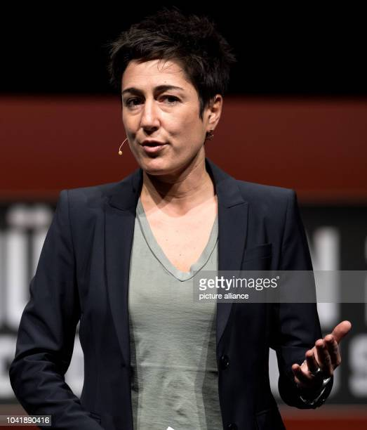 Moderator Dunja Hayali speaks during the opening of the Munich Media Days at the International Congress Center in Munich Germany 25 October 2016 The...