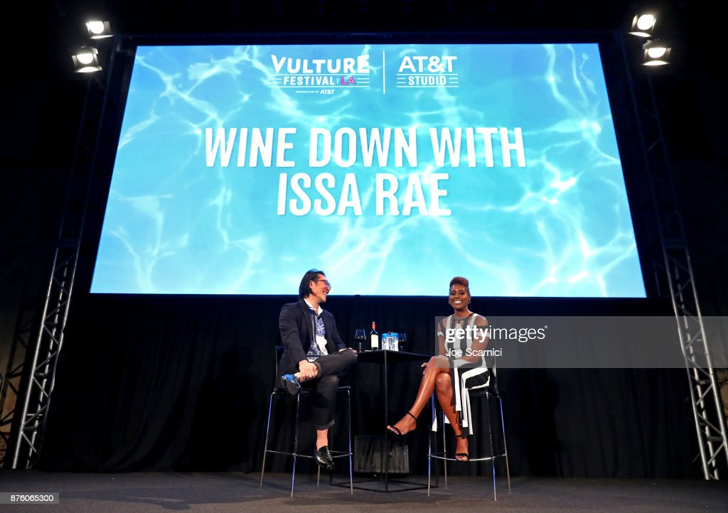 Moderator E. Alex Jung (L) and actor/producer Issa Rae speak onstage during the 'Wine Down with Issa Rae' event, part of Vulture Festival LA Presented by AT&T at Hollywood Roosevelt Hotel on November 18, 2017 in Hollywood, California.
