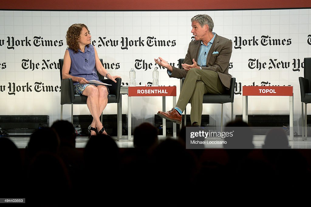 Moderator Elisabeth Rosenthal, The New York Times Domestic Correspondent (L), Eric J. Topol, Director, Chief Academic Officer, Professor of Genomics, Scripps Translational Science Institute, Scripps Health, The Scripps Research Institute speak onstage during The New York Times Health For Tomorrow Conference at Mission Bay Conference Center at UCSF on May 29, 2014 in San Francisco, California.