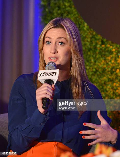 Moderator Elizabeth Wagmeister of Variety speaks onstage at Variety's Massive The Entertainment Marketing Summit at Four Seasons Hotel Los Angeles at...