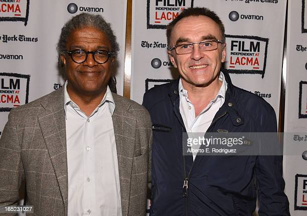 Moderator Elvis Mitchell and director Danny Boyle attend The Film Independent at LACMA's special screening and QA of director Danny Boyle's 'Trace'...