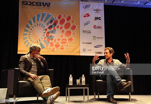 Moderator Elvis Mitchell and director Todd Phillips speak at the 2011 SXSW Music Film Interactive Festival Conversation with Todd Phillips at Austin...