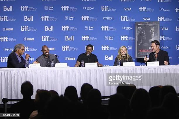Moderator Elvis Mitchell director Antoine Fuqua actor Denzel Washington actress Chloe Grace Moretz and actor Marton Csokas speak onstage at The...