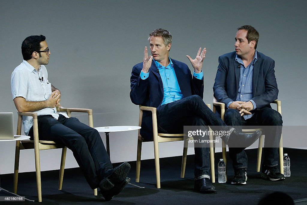 Moderator Eric Cohn, Daniel Junge and Kief Davidson speak during meet the filmmaker series, 'A Lego Brickumentary' at the Apple Store Soho on July 27, 2015 in New York City.