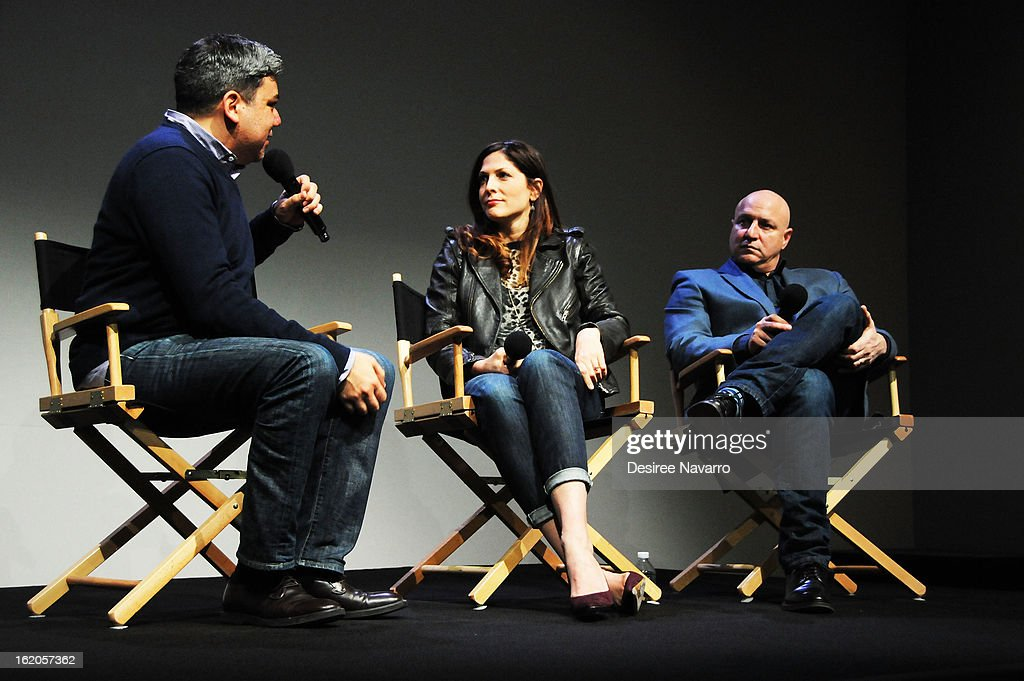 Moderator Eugene Hernandez, Director Lori Silverbush and Chef/TV personality Tom Colicchio talk at Apple Store Soho Presents: Meet The Filmmakers - 'A Place At The Table' at Apple Store Soho on February 18, 2013 in New York City.